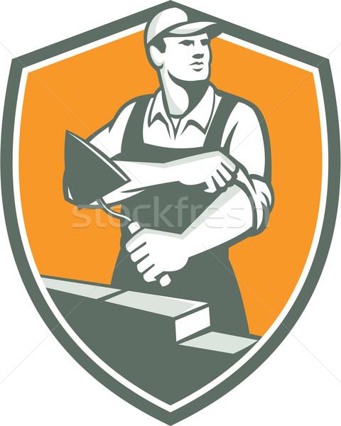 Tiler Plasterer Mason Trowel Shield Retro Stock photo © patrimonio