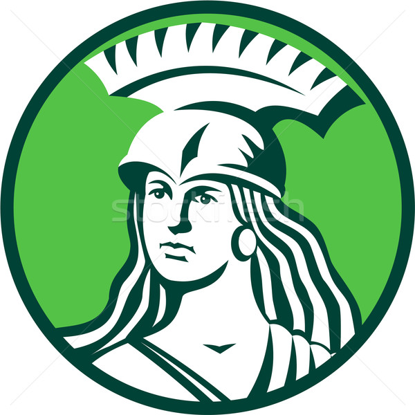 Spartan Female Warrior Circle Retro Stock photo © patrimonio