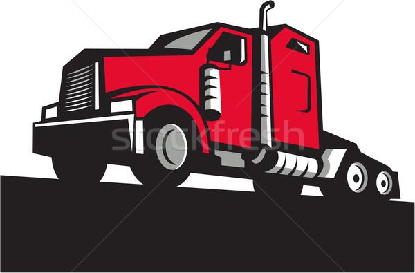 Semi Truck Tractor Low Angle Retro Stock photo © patrimonio