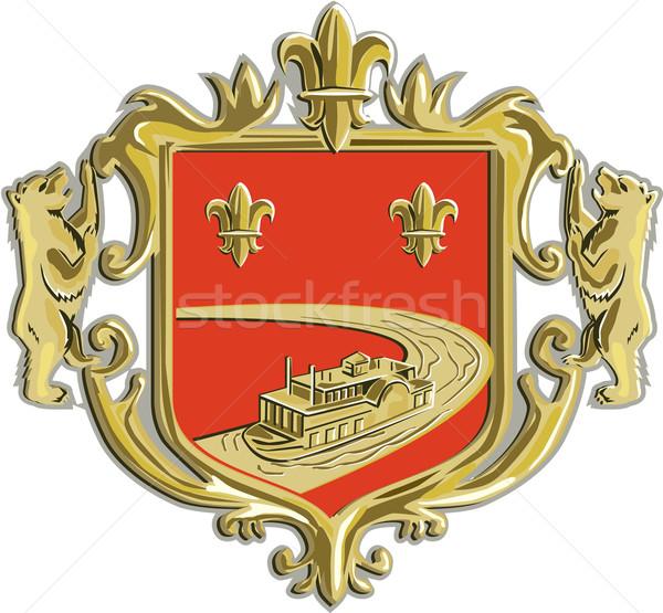Steamboat Fleur De Lis Coat of Arms Retro Stock photo © patrimonio