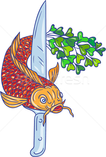 Koi Nishikigoi Carp Fish Microgreen Tail Knife Drawing Stock photo © patrimonio