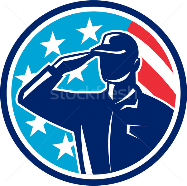 American Soldier Serviceman Saluting Flag Circle Retro Stock photo © patrimonio
