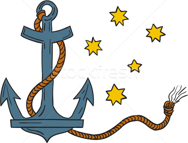 Anchor with Rope and Southern Cross Star Drawing Stock photo © patrimonio