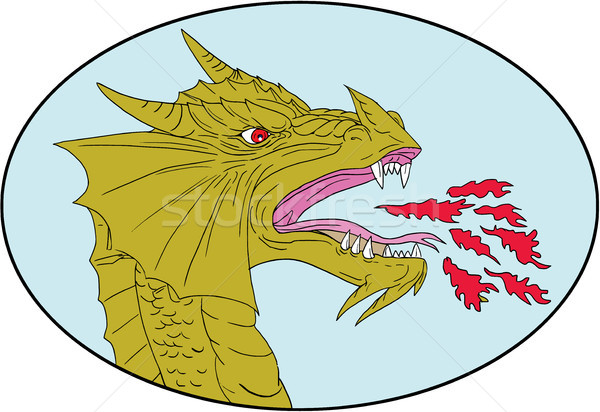 Dragon Head Breathing Fire Oval Drawing Stock photo © patrimonio