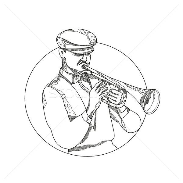 Dzsessz zenész játszik trombita firka művészet Stock fotó © patrimonio