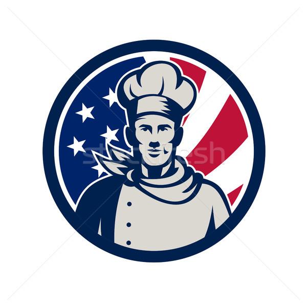 Baker chef USA pavillon icône Photo stock © patrimonio