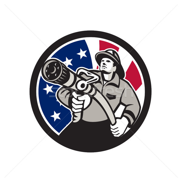 American Fireman USA Flag Icon Stock photo © patrimonio