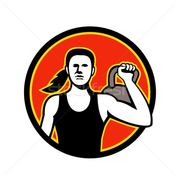 Női személyi edző emel kettlebell kabala ikon Stock fotó © patrimonio