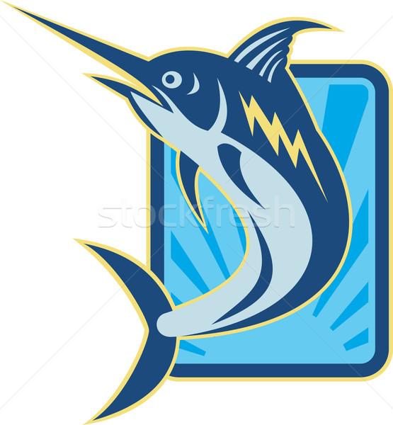 Azul saltando retro ilustração peixe Foto stock © patrimonio