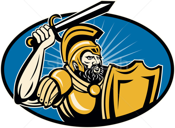 Roman Centurion Soldier With Sword And Shield Stock photo © patrimonio