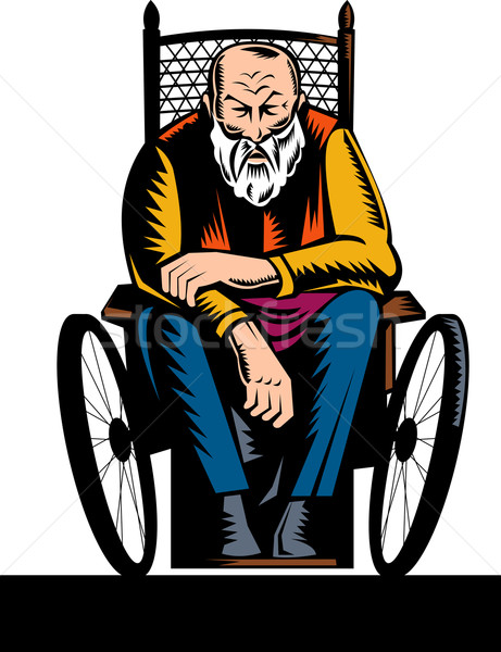Old handicapped man sitting on wheelchair Stock photo © patrimonio