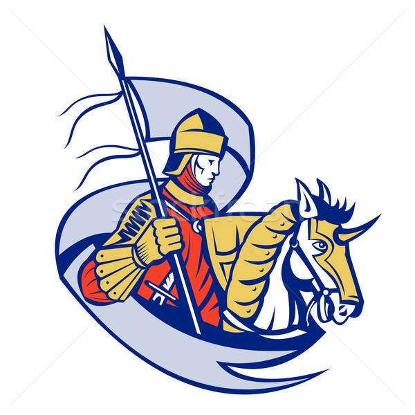 Knight With Flag Shield Horse Retro Stock photo © patrimonio