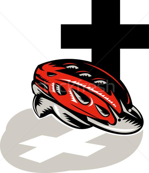 Rowerowe crash kask krzyż ilustracja Zdjęcia stock © patrimonio