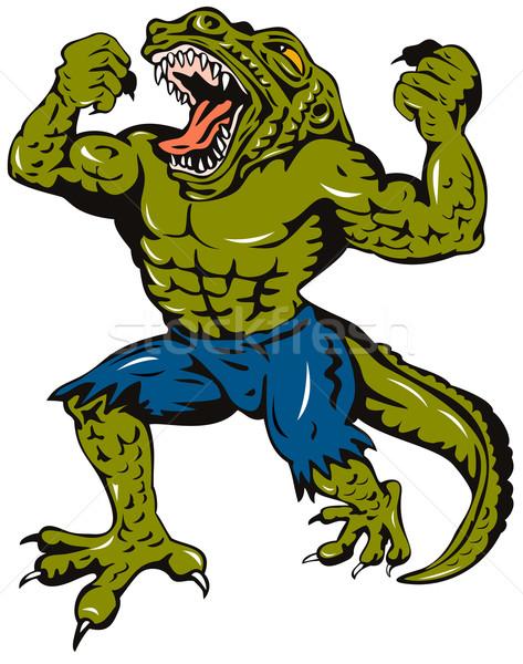 Bösewicht Illustration böse fremden Monster Krokodil Stock foto © patrimonio