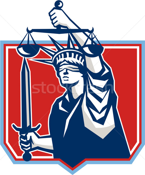 Statue of Liberty Wielding Sword Scales Justice Stock photo © patrimonio