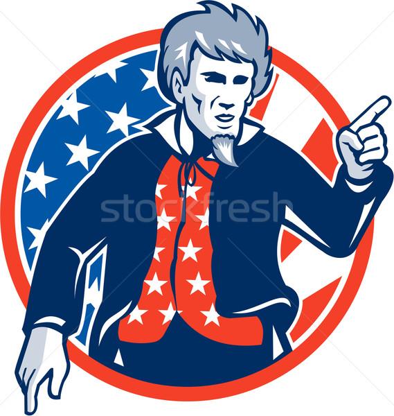 Nagybácsi amerikai mutat ujj zászló retro Stock fotó © patrimonio