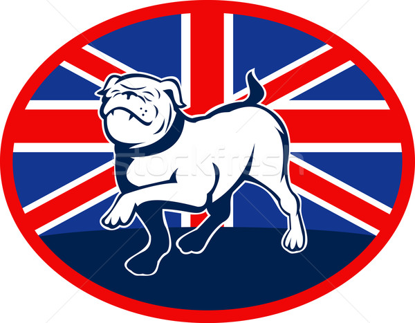Stock photo: Proud English bulldog marching with British flag