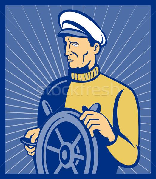 Sea ship captain at the helm steering wheel Stock photo © patrimonio