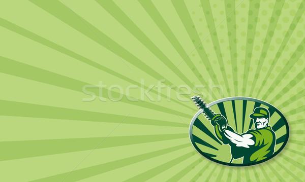 Gardener Landscaper Hedge Trimmer Retro Stock photo © patrimonio