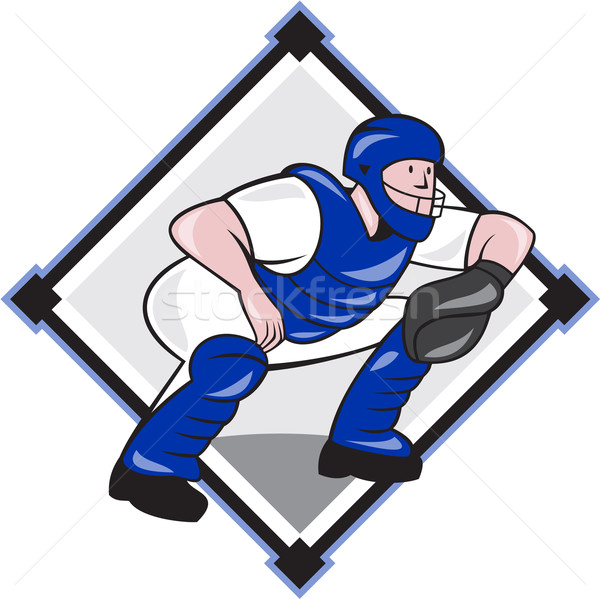 Baseball Catcher Catching Side Diamond Cartoon Stock photo © patrimonio