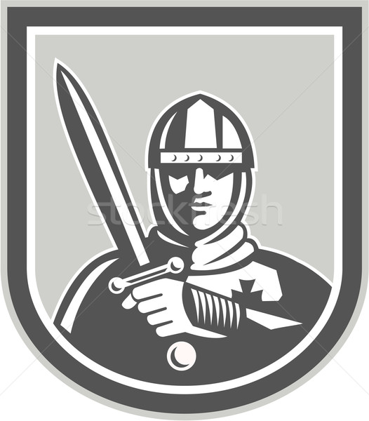 Crusader Knight With Sword Front Crest Stock photo © patrimonio