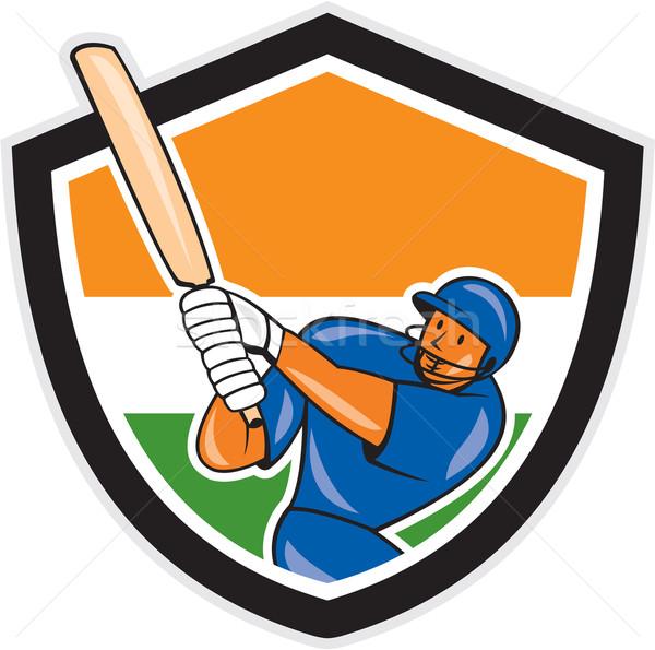 India Cricket Player Batsman Batting Shield Cartoon Stock photo © patrimonio