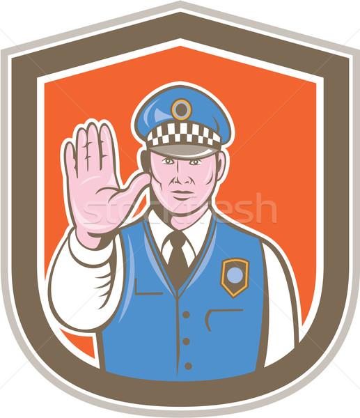 Ruchu policjant strony znak stopu tarcza cartoon Zdjęcia stock © patrimonio