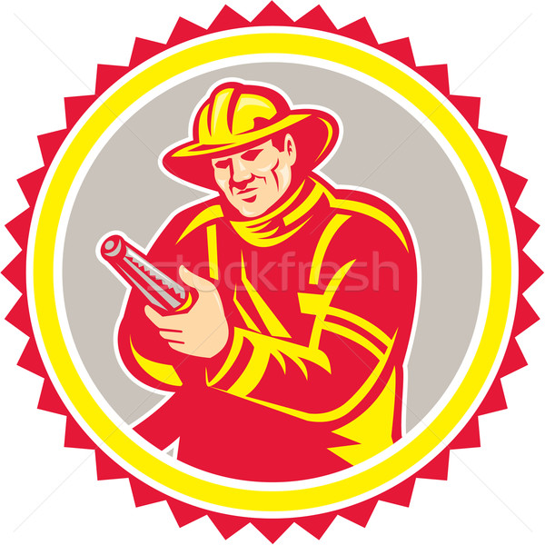 Fireman Firefighter Aiming Fire Hose Rosette Stock photo © patrimonio