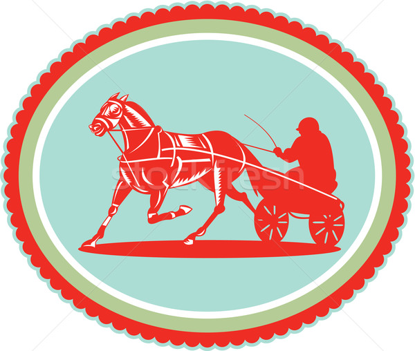 Horse and Jockey Harness Racing Rosette Retro Stock photo © patrimonio