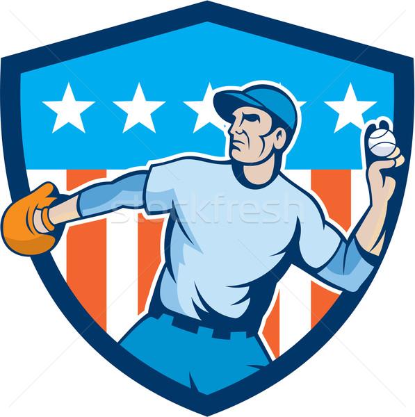 Stock photo: Baseball Pitcher Throwing Ball Shield Cartoon