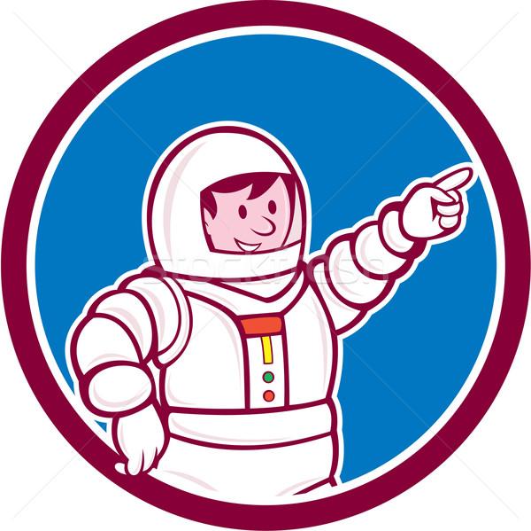 Astronaut Pointing Front Circle Cartoon Stock photo © patrimonio
