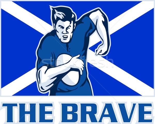 Rugby oyuncu İskoçya bayrak cesur örnek Stok fotoğraf © patrimonio