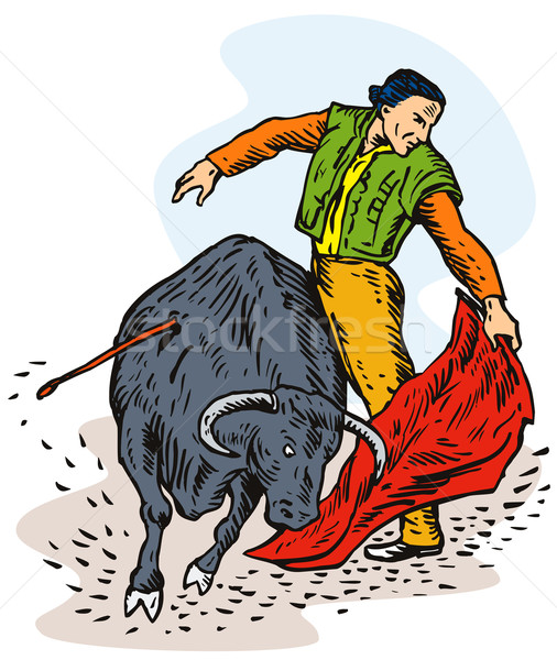Bullfighter bull red cape Stock photo © patrimonio