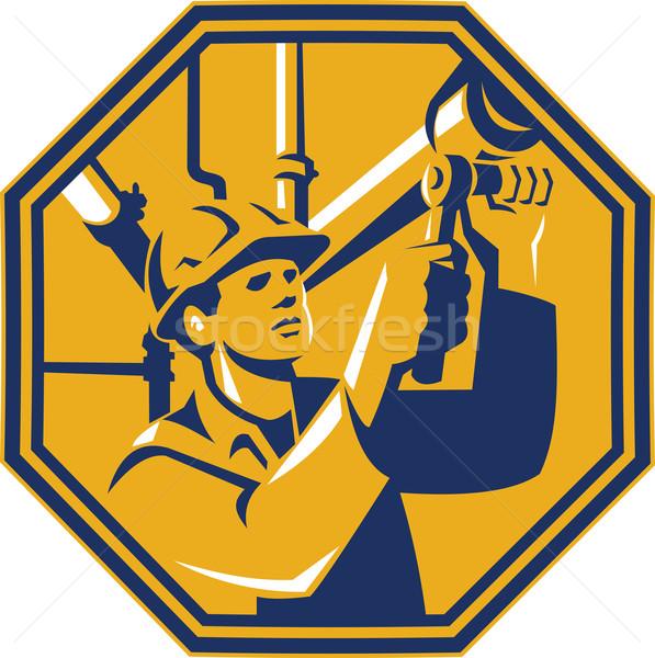 обслуживание газ работник водопроводчика иллюстрация гнездо Сток-фото © patrimonio