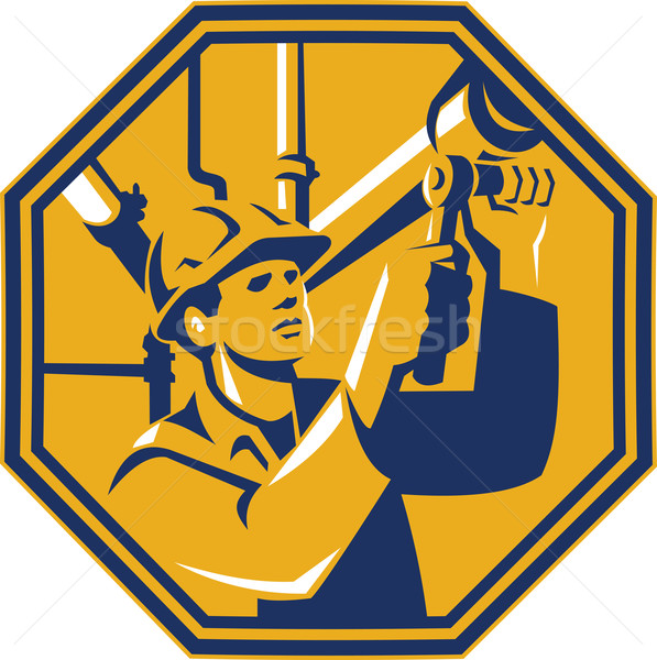 Onderhoud gas werknemer loodgieter illustratie stopcontact Stockfoto © patrimonio