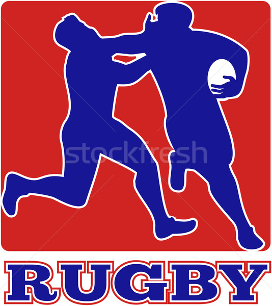Rugby player tackle fending off Stock photo © patrimonio