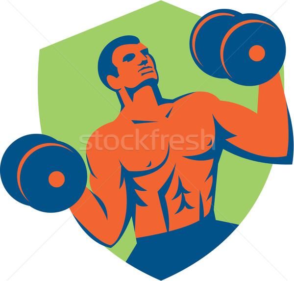 Strongman Crossfit Lifting Dumbbells Shield Retro Stock photo © patrimonio