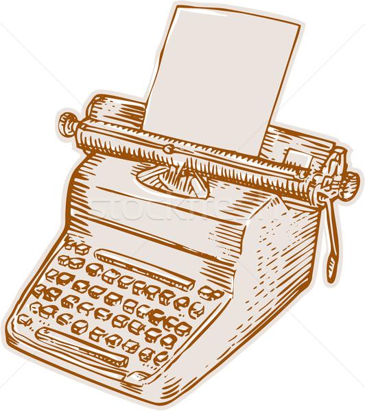 Vintage Old Style Typewriter Etching Stock photo © patrimonio