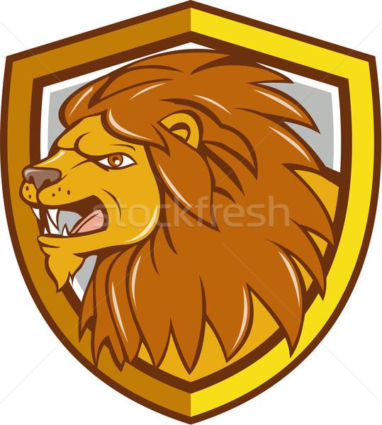 Angry Lion Head Roar Shield Cartoon Stock photo © patrimonio
