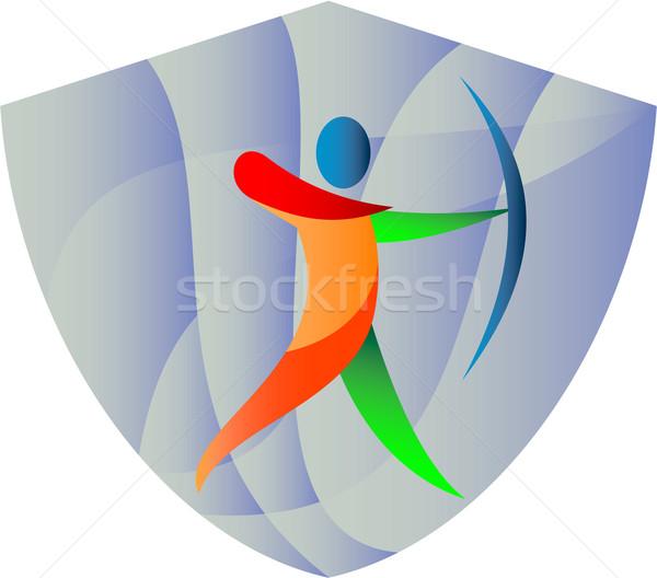 íjász íjászat címer retro illusztráció íj Stock fotó © patrimonio