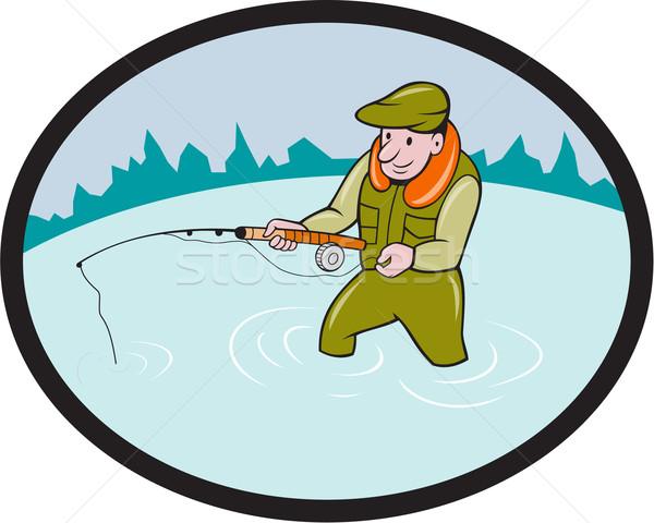 Fly Fisherman Casting Fly Rod Oval Cartoon Stock photo © patrimonio