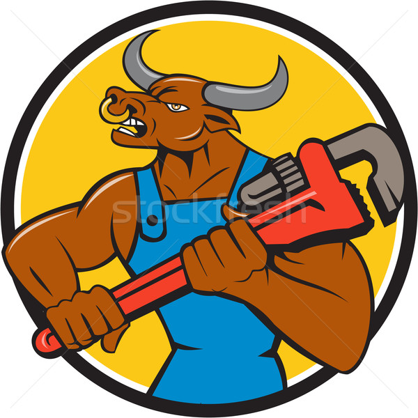 Minotaur Bull Plumber Wrench Circle Cartoon Stock photo © patrimonio