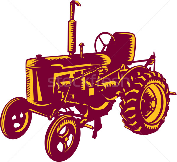 Vintage Farm Tractor Woodcut Stock photo © patrimonio
