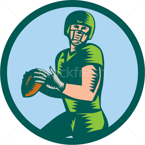 American Football QB Throwing Circle Woodcut Stock photo © patrimonio