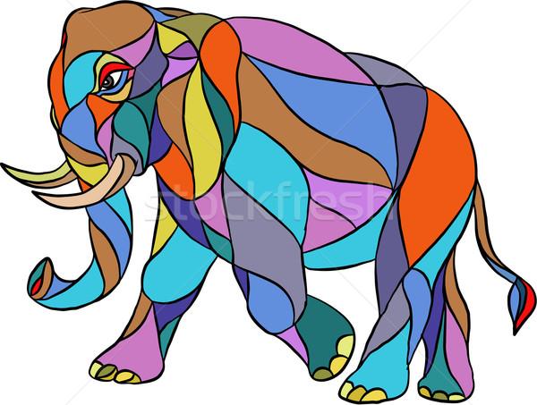 Angry Elephant Walking Mosaic Stock photo © patrimonio