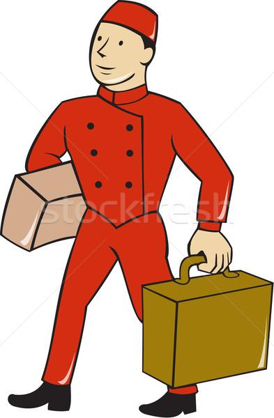 Szállít csomagok rajz illusztráció hordár hordoz Stock fotó © patrimonio
