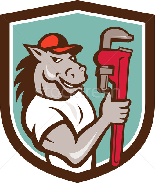 Horse Plumber  Monkey Wrench Crest Cartoon Stock photo © patrimonio