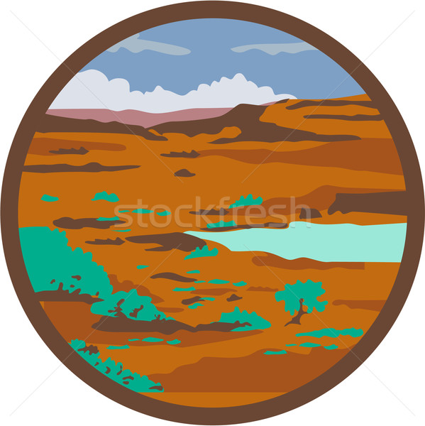 Desert Scene Circle Retro Stock photo © patrimonio