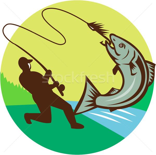 Fly Fisherman Hooking Salmon Circle Rero Stock photo © patrimonio