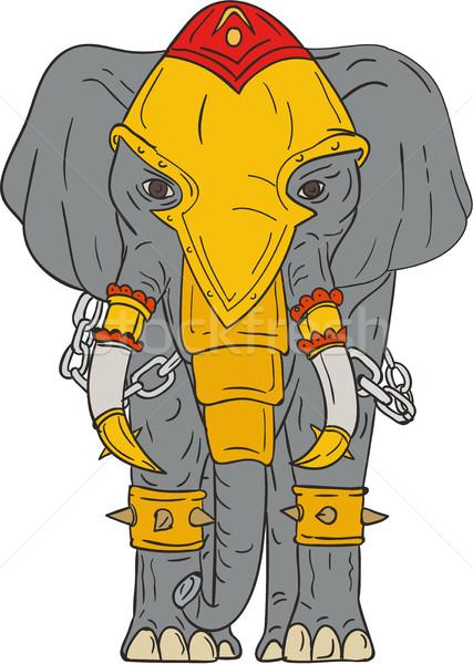 Savaş fil çizim kroki stil örnek Stok fotoğraf © patrimonio